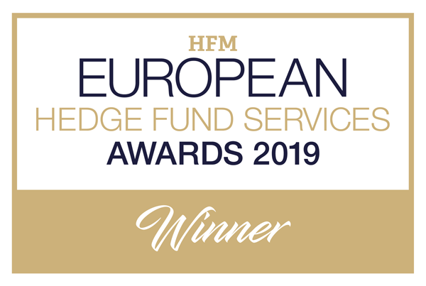 "Sieger 2019 bei den HFM European Fund Sevices Awards in der Kategorie ""Bester Prime-Broker - Technologie"""