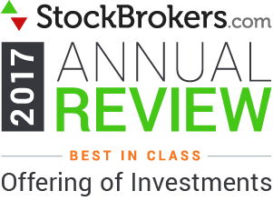 "Valutazioni Interactive Brokers: riconoscimenti Stockbrokers.com 2017: ""Best in Class - Offering of Investments"" (migliore offerta in materia di investimenti)"